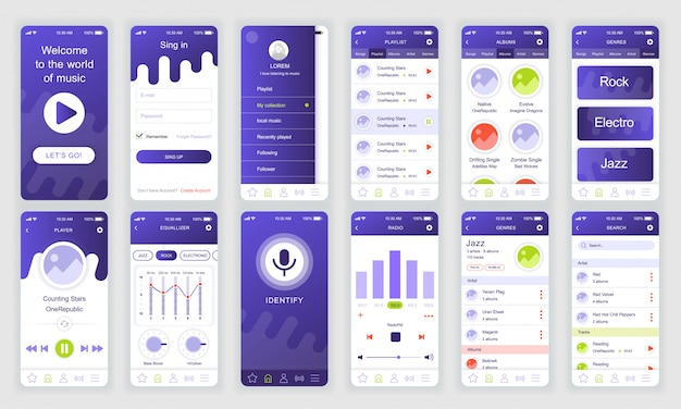 Conjunto de pantallas de interfaz de usuario, ux, gui aplicación de música plana