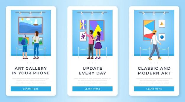 Conjunto de pantallas de la página de la aplicación móvil de la galería de arte
