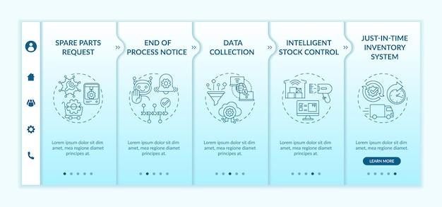 Conjunto de pantallas de la página de la aplicación móvil de incorporación de comunicación máquina a máquina