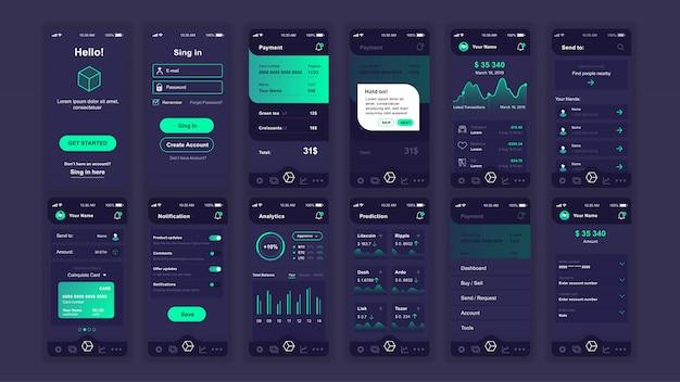 Conjunto de pantallas planas ui, ux, gui cryptocurrency app plantilla plana
