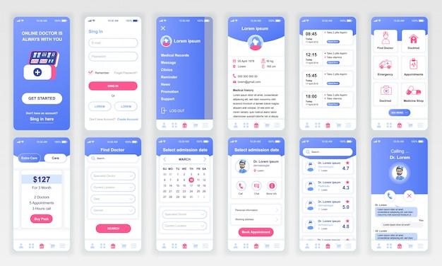 Conjunto de pantallas de ui, ux, gui, aplicación de medicina plana