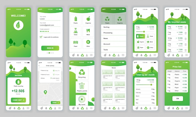 Conjunto de pantallas ui, ux, gui ecología aplicación plana