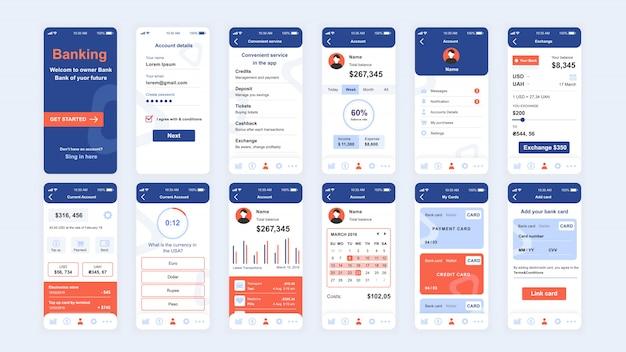 Conjunto de pantallas ui, ux, gui plantilla plana de la aplicación bancaria