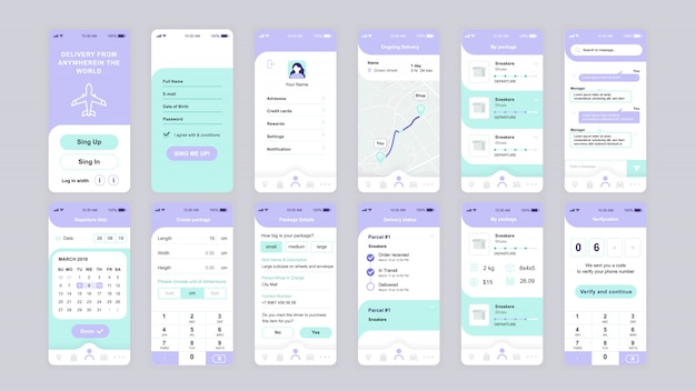 Conjunto de pantallas ui, ux, gui plantilla plana de aplicación de entrega