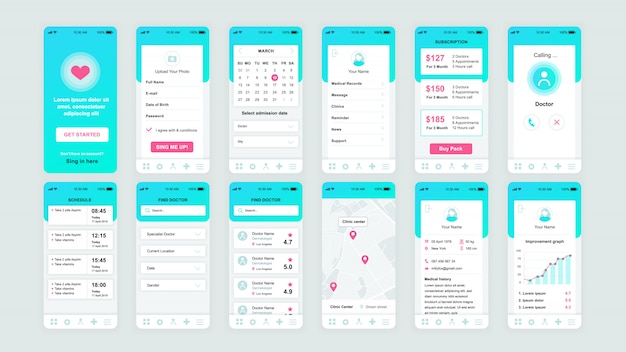 Conjunto de pantallas ui, ux, gui plantilla plana de aplicación de medicina
