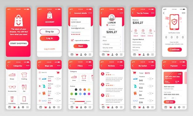 Conjunto de pantallas ui, ux, gui shopping app plana