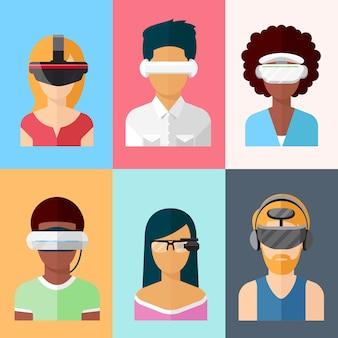 Conjunto de pantallas de vector plano montadas en la cabeza. gadgets de realidad virtual y aumentada. innovación en aplicaciones cibernéticas de vidrio y juegos