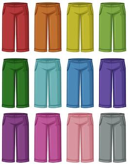 Conjunto de pantalones de diferentes colores.