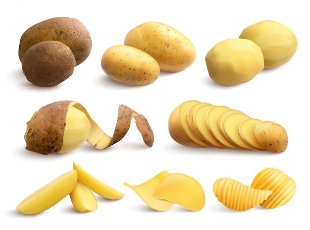 Conjunto de papas crudas y fritas de crudo tratado picado y chips realistas