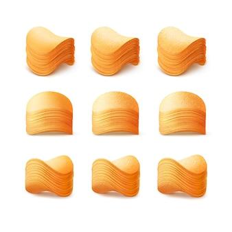 Conjunto de papas fritas crujientes pilas aisladas en blanco