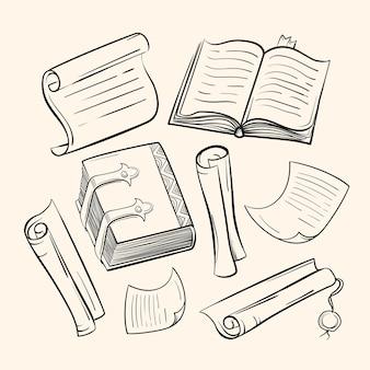 Un conjunto de papel antiguo, libros, pergaminos. dibujos al estilo boceto.
