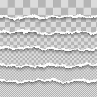 Conjunto de papel blanco rasgado transparente horizontal con sombra