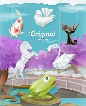 Conjunto de papel de origami, ilustración vectorial