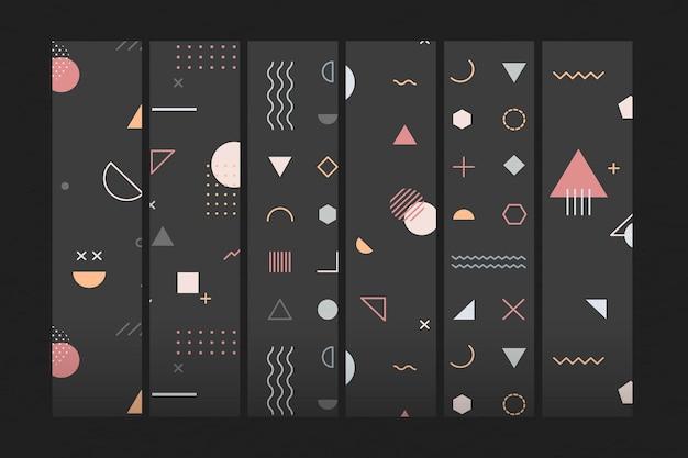 Conjunto de papel tapiz con patrón de memphis negro