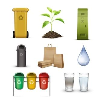 Conjunto de papeleras de reciclaje para clasificación de residuos, gotas de agua limpia, brotes y bolsas de papel kraft aisladas sobre fondo blanco