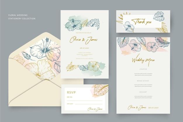 Conjunto de papelería de boda con adornos florales.