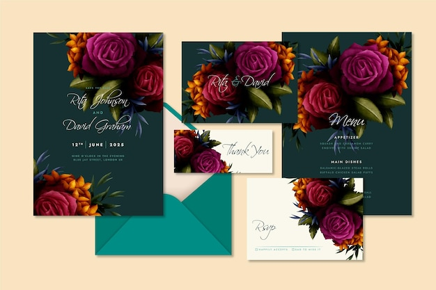 Conjunto de papelería de boda botánica dramática de acuarela