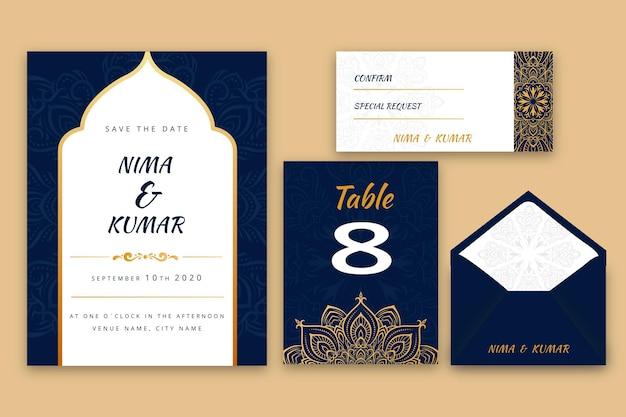 Conjunto de papelería de boda india