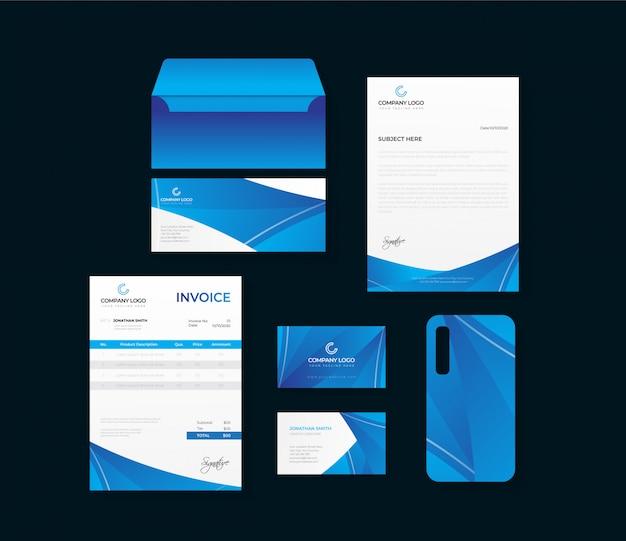 Conjunto de papelería de identidad de marca de empresa corporativa