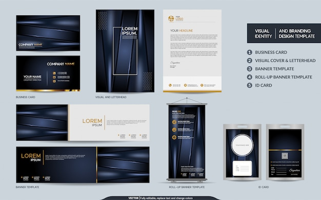 Conjunto de papelería de lujo azul marino oscuro e identidad visual de la marca con fondo abstracto de capas superpuestas