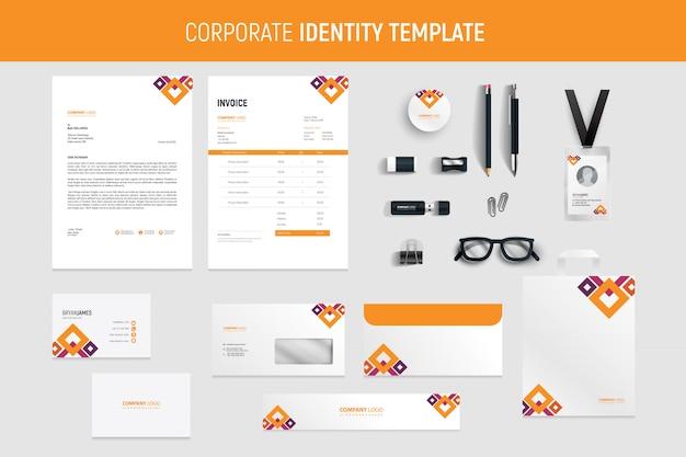 Conjunto de papelería de negocios profesional abstracto naranja moderno