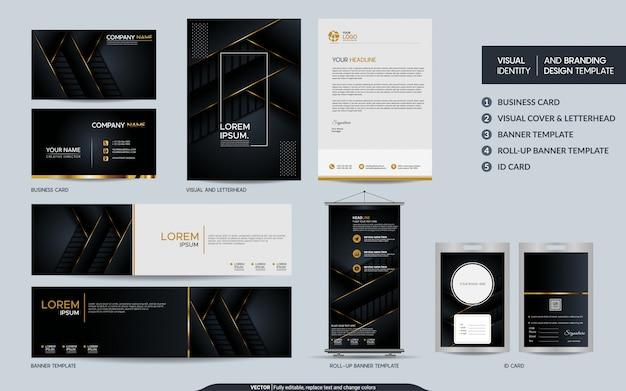 Conjunto de papelería de oro negro de lujo e identidad visual de la marca con fondo abstracto de capas superpuestas