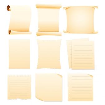 Conjunto de papeles en blanco de colección