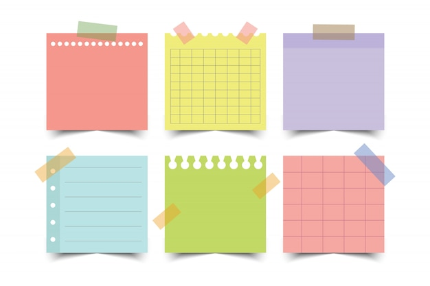 Conjunto de papeles de nota colorida. ilustración.