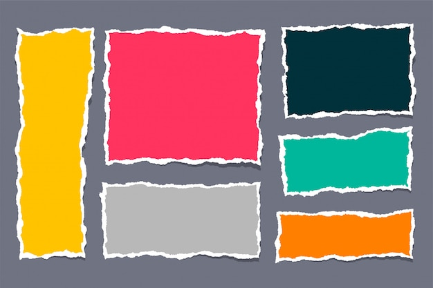 Conjunto de papeles rasgados rotos en muchos colores.