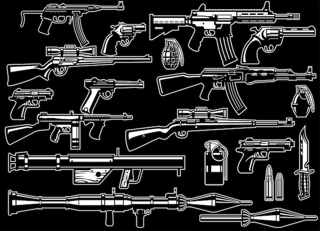Conjunto de paquete de armas y rifles militares.