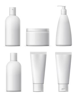 Conjunto de paquete cosmético en blanco