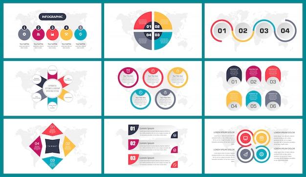 Conjunto de paquete de diseño de elemento creativo de infografía empresarial