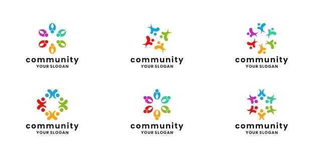 Conjunto de paquete de diseño de logotipo de comunidad humana