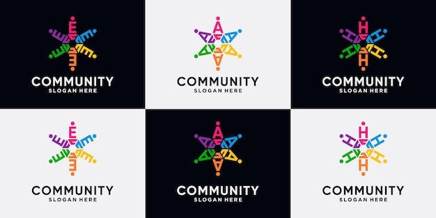 Conjunto de paquete de diseño de logotipo de la comunidad letra inicial e, a, h con concepto creativo.