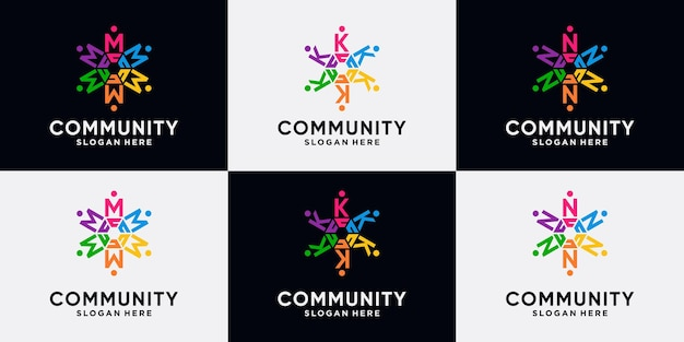 Conjunto de paquete de diseño de logotipo de comunidad letra inicial m, k, n con concepto creativo.