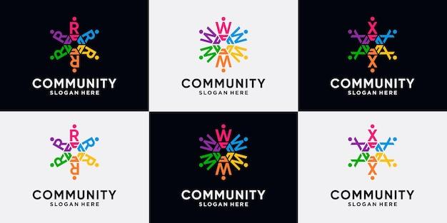 Conjunto de paquete de diseño de logotipo de la comunidad letra inicial r, w, x con concepto creativo.