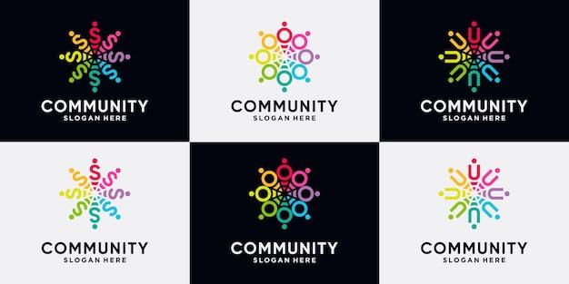 Conjunto de paquete de diseño de logotipo de comunidad letra inicial s, o, u con concepto creativo.