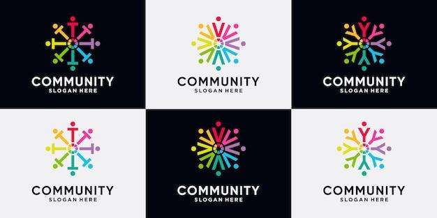 Conjunto de paquete de diseño de logotipo de la comunidad letra inicial t, v, y con concepto creativo.