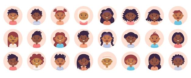 Conjunto de paquete grande de avatar de personas afroamericanas