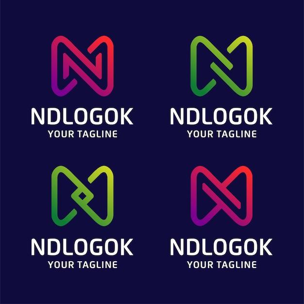 Conjunto de paquete de iconos de logotipo de letra n de colección