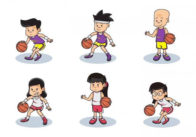 Conjunto de paquete ilustración del personaje del equipo de baloncesto de niños y niñas.