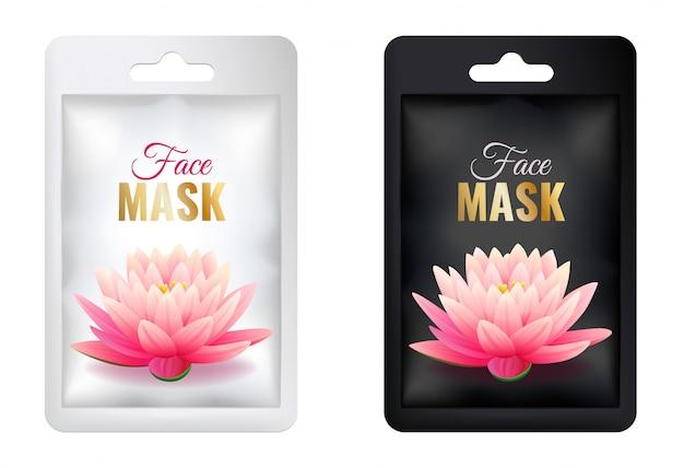 Conjunto de paquete de máscara facial cosmética blanca y negra maqueta, paquete de bolsita individual realista con loto rosa, aislado en la ilustración de vector de fondo blanco