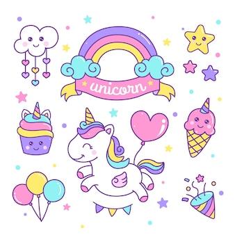 Conjunto de paquete de pegatinas de elementos de unicornio colorido