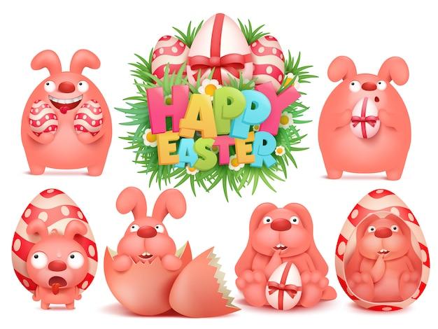 Conjunto de paquete de pegatinas emoji de personaje de conejito rosa de dibujos animados de pascua feliz