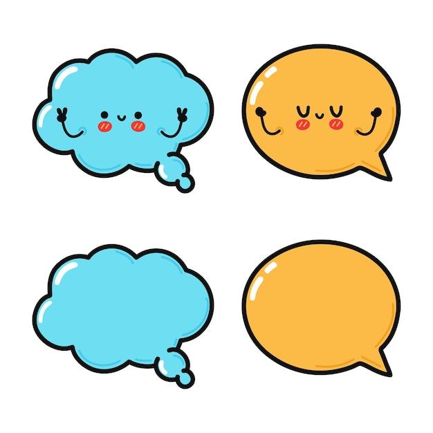 Conjunto de paquete de personajes de burbujas de discurso feliz lindo divertido