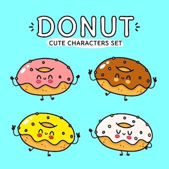 Conjunto de paquete de personajes divertidos lindos y felices donut