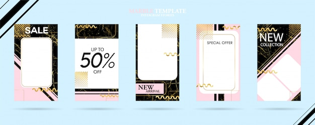 Conjunto de paquete de plantillas de historias de medios sociales con textura de mármol de moda de lujo