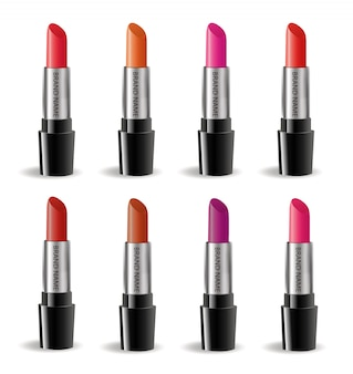 Conjunto de paquete realista de lápiz labial, aislado sobre fondo blanco. colección 3d de lápices labiales de colores, maqueta de cosméticos para plantilla de marca. .