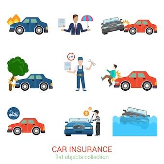 Conjunto de paquete de seguro de coche moderno de estilo plano. accidente daño pérdida lesión daño defecto evacuador grúa póliza de robo certificado de salvamento gerente de trabajador. servicio de transporte colección plana.