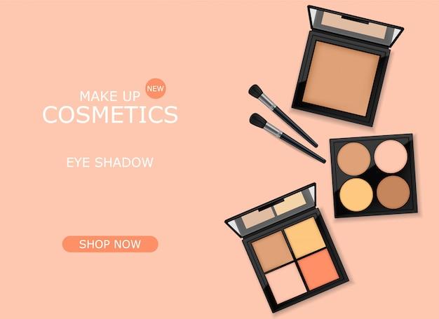 Conjunto de paquete de sombra de ojos realista, paleta de empaque de maquillaje, cosméticos elegantes, pancarta